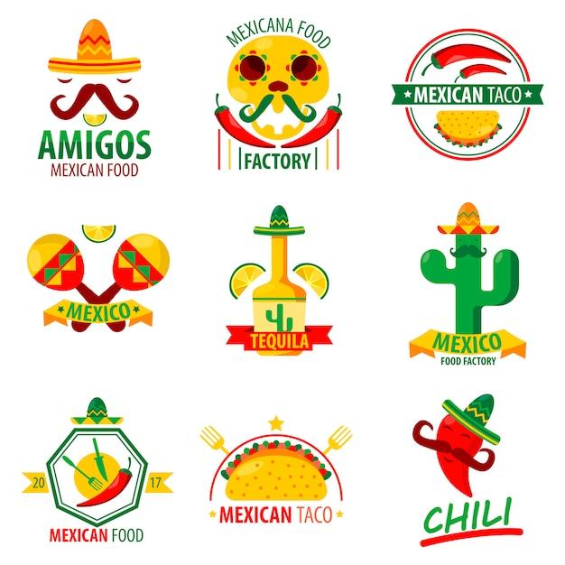 Il logo dell'alimento messicano emblema il manifesto di vettore su bianco Vettore Premium