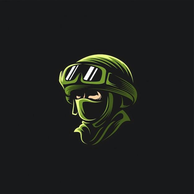 Il logo della testa dell'esercito logo Vettore Premium