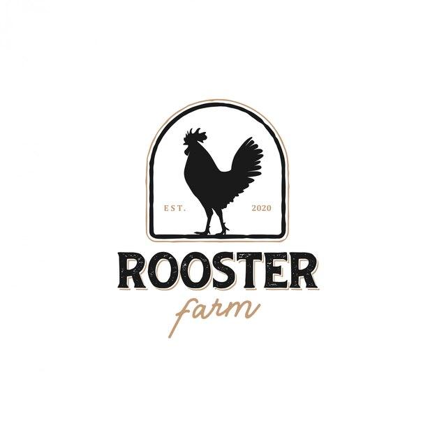 Il logo di un gallo con un modello classico per le etichette dei prodotti, venditore di carne di pollo Vettore Premium