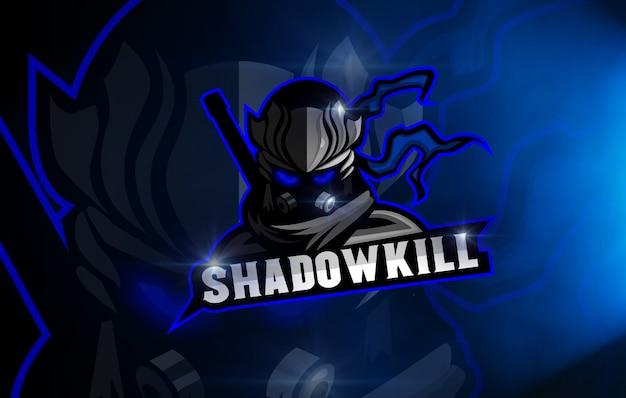 Il logo ninja esporta shadowkill team Vettore Premium
