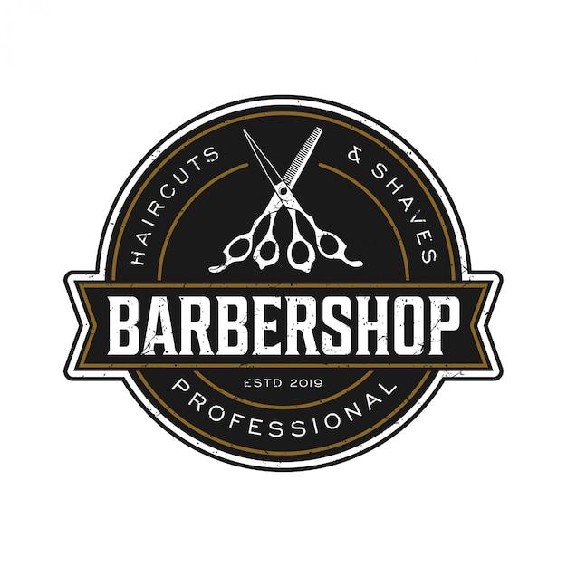 Il logo per il barbiere in stile vintage Vettore Premium
