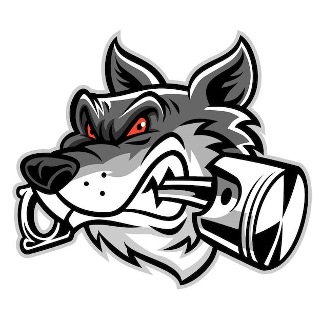Il lupo morde il pistone Vettore Premium