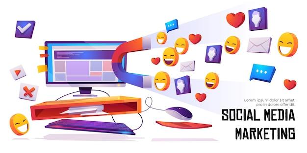 Il magnete del banner di social media marketing attira i mi piace Vettore gratuito