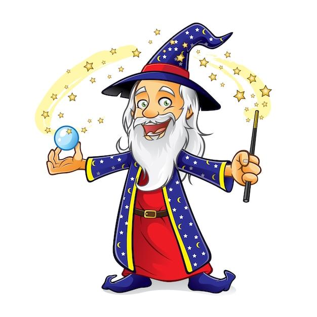 Il mago tiene una sfera di cristallo mentre agita la sua bacchetta magica e sorride felice Vettore Premium