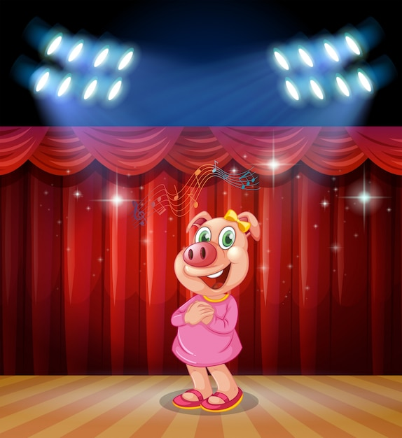 Il maiale si esibisce sul palco Vettore gratuito