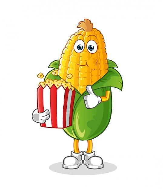 Il mais mangia pop corn fumetto Vettore Premium