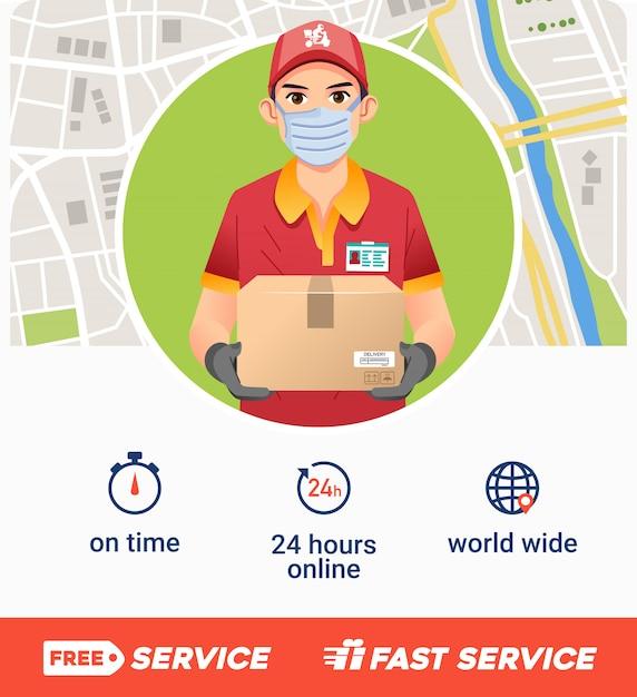 Il manifesto della società di servizio di distribuzione con il giovane porta la scatola come mascotte e la mappa come illustrazione del bakground Vettore Premium