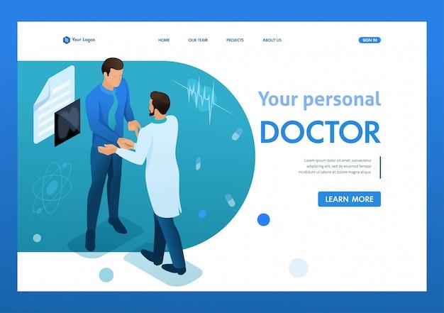 Il medico comunica con il paziente. assistenza sanitaria 3d isometrico. Vettore Premium