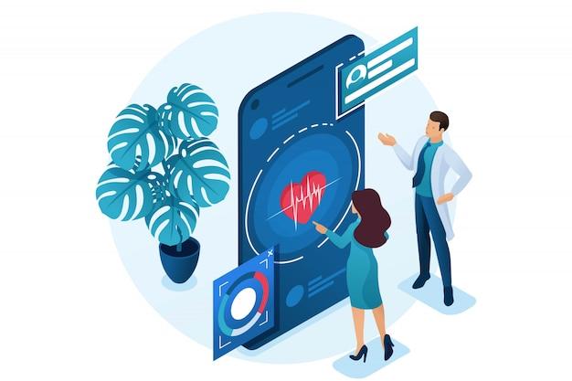 Il medico mostra al paziente come utilizzare l'applicazione per mantenere la salute. concetto di assistenza sanitaria. 3d isometrico. Vettore Premium