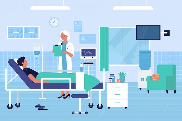 Il medico visita il paziente nel concetto piano dell'illustrazione di vettore del carattere del reparto di ospedale Vettore Premium