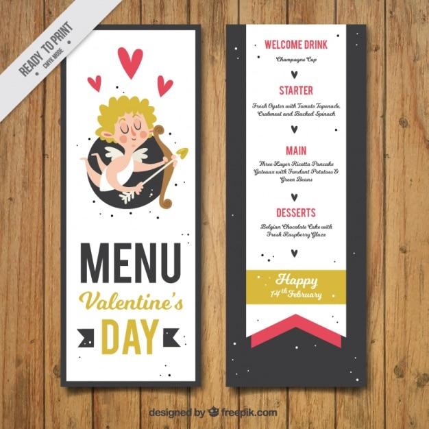 Il menu di san valentino con cupido divertente Vettore gratuito