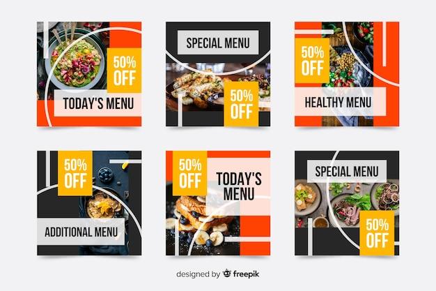Il menu speciale offre la raccolta di post di instagram Vettore gratuito