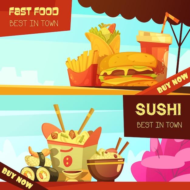 Il miglior ristorante fast food della città 2 banner pubblicitari orizzontali con cartone animato sushi Vettore gratuito