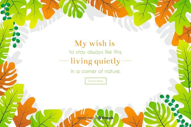 Il mio desiderio è di rimanere sempre così, vivendo tranquillamente in un angolo di natura. citazione scritta con tema floreale e fiori Vettore gratuito