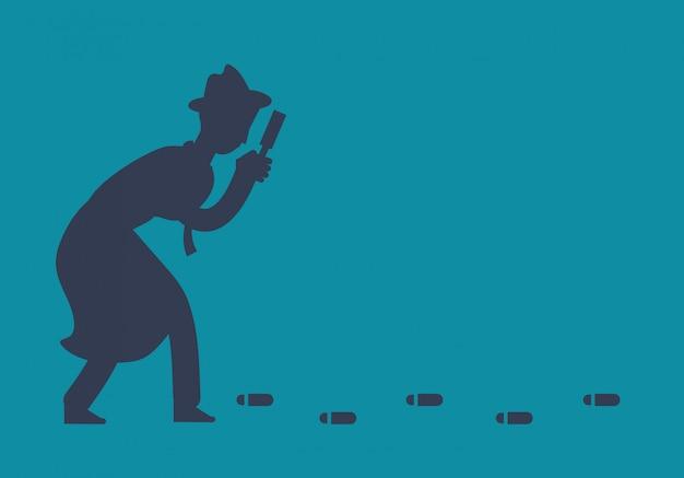 Il misterioso investigatore investigatore sta seguendo l'illustrazione delle impronte Vettore Premium