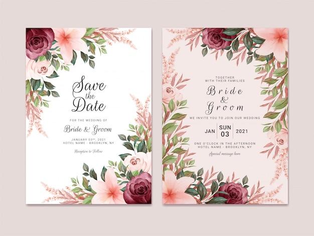 Il modello dell'invito di nozze del fogliame ha messo con la decorazione floreale del confine dell'acquerello marrone e di borgogna. concetto di design di carta botanica Vettore Premium