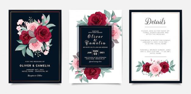 Il modello della carta dell'invito di nozze dei blu navy ha messo con la decorazione dei fiori Vettore Premium