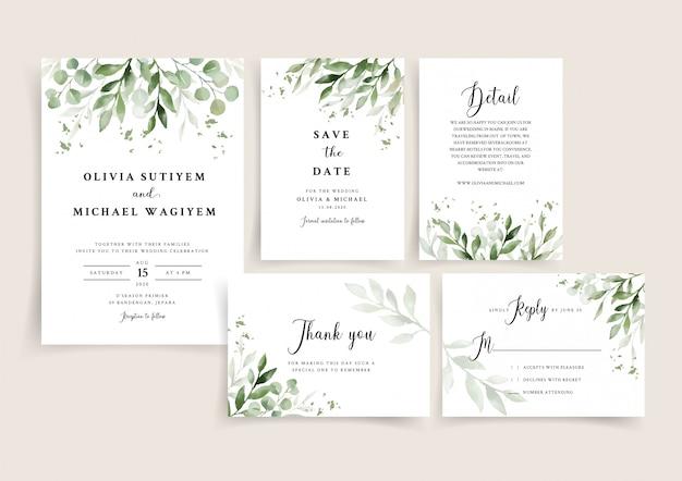 Il modello della carta dell'invito di nozze ha messo con il confine elegante delle foglie Vettore Premium