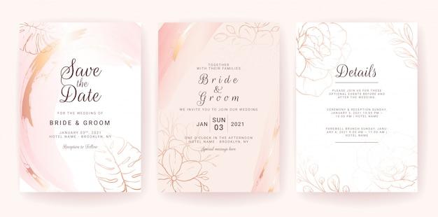 Il modello della carta dell'invito di nozze ha messo con la spruzzata dell'acquerello dell'oro e la linea floreale. Vettore Premium