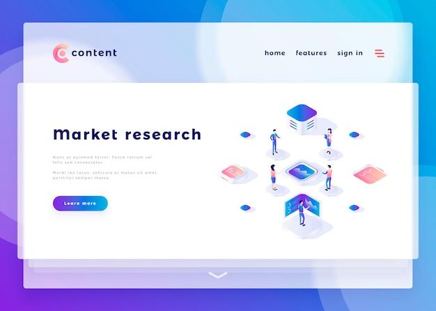 Il modello della pagina di atterraggio per la gente dell'ufficio di ricerca di mercato ed interagisce con i computer vector l'illustrazione Vettore Premium