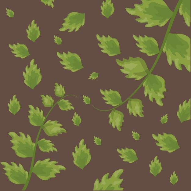 Il modello delle foglie tropicali verdi sopra marrone Vettore gratuito