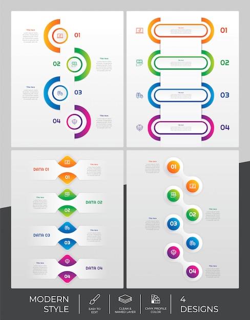 Il modello di infographic ha messo con stile moderno e il concetto variopinto Vettore Premium