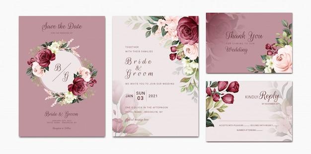 Il modello elegante dell'invito di nozze ha messo con la decorazione floreale della struttura e del confine dell'acquerello della pesca e della borgogna. illustrazione botanica per la progettazione della composizione della carta Vettore Premium
