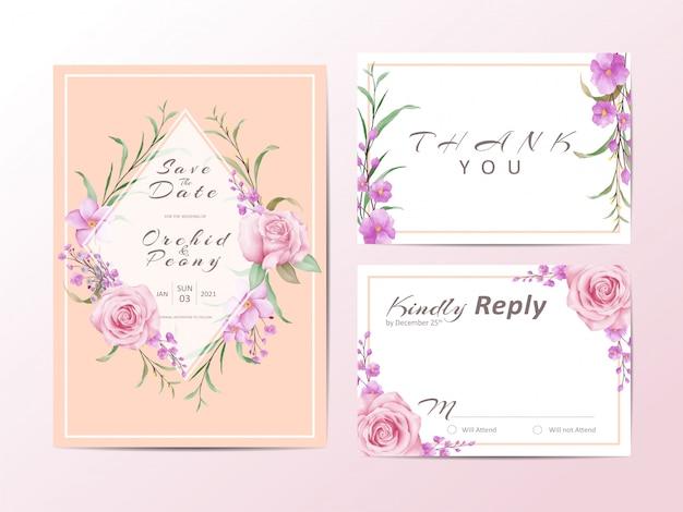 Il modello elegante dell'invito di nozze ha messo con le rose e le foglie selvagge Vettore Premium