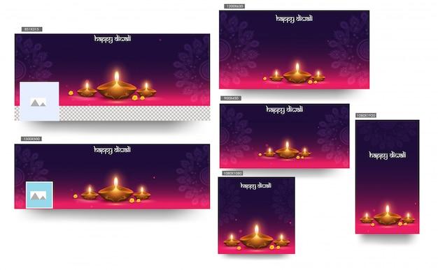 Il modello felice dell'insegna dell'intestazione di diwali ha messo con la lampada a olio illuminata (diya) sul modello porpora e rosa della mandala Vettore Premium