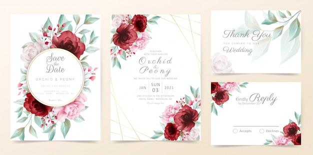 Il modello floreale della carta dell'invito di nozze ha messo con i fiori dell'acquerello e la decorazione dorata Vettore Premium