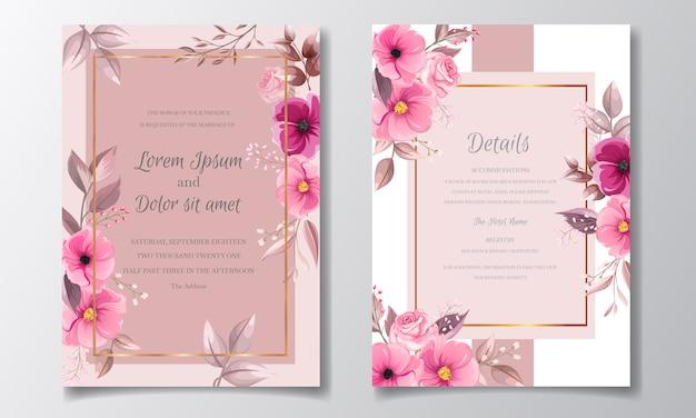 Il modello marrone rossiccio romantico della carta dell'invito ha messo con i fiori e le foglie rosa dell'universo Vettore Premium