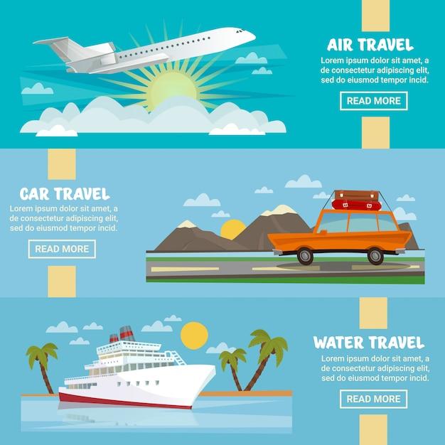 Il modello orizzontale dell'insegna di viaggio ha messo con l'aeroplano, l'automobile e la nave Vettore Premium