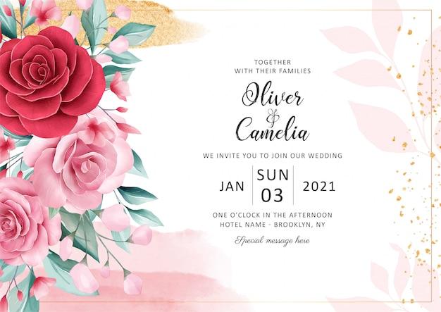 Il modello orizzontale della carta dell'invito di nozze floreale ha messo con la decorazione di scintillio dell'oro e dell'acquerello. Vettore Premium