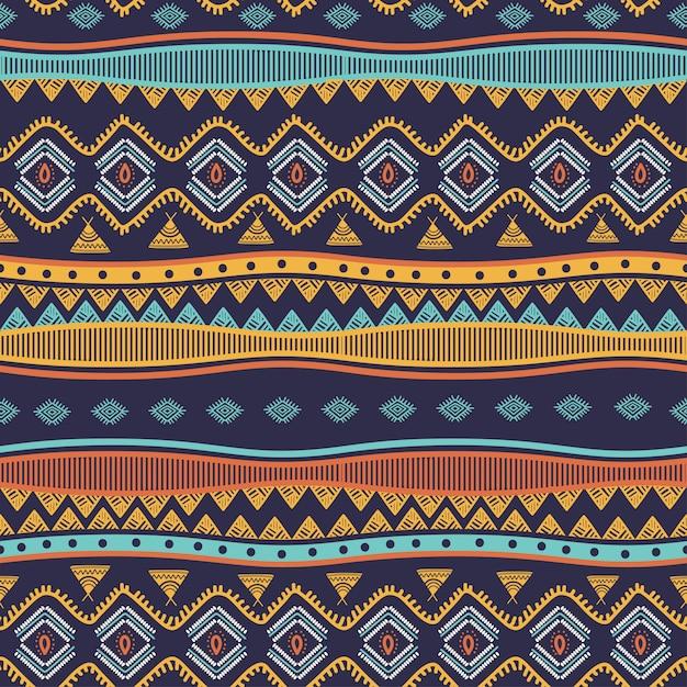 Il modello senza cuciture disegnato a mano tribale antico barra i simboli etnici Vettore Premium