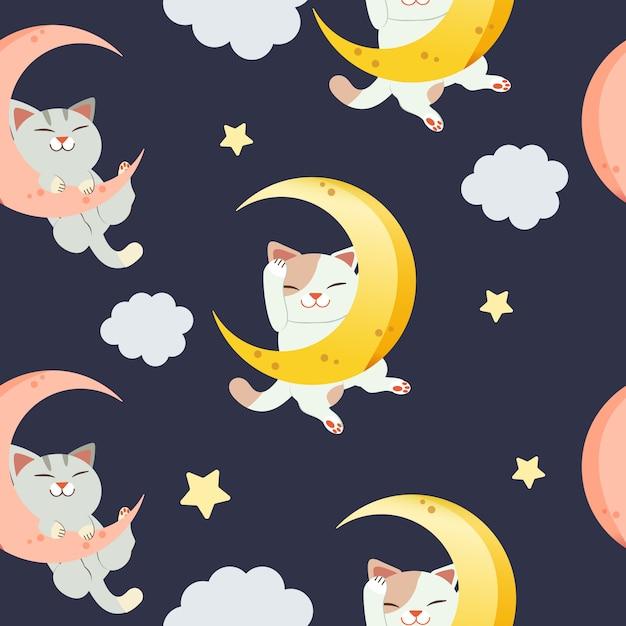Il modello senza soluzione di continuità per il personaggio del simpatico gatto seduto sulla luna. il gatto che dorme e sorride. il gatto che dorme sulla luna crescente e si appanna Vettore Premium