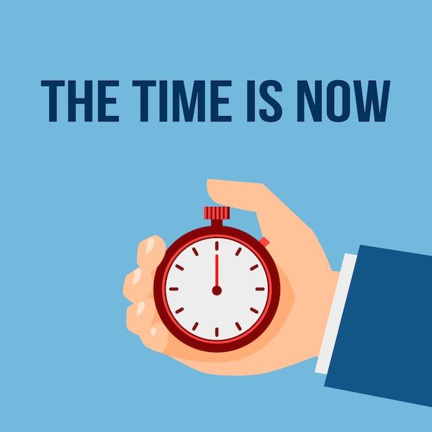 Il momento è adesso. uomo d'affari con cronometro Vettore Premium