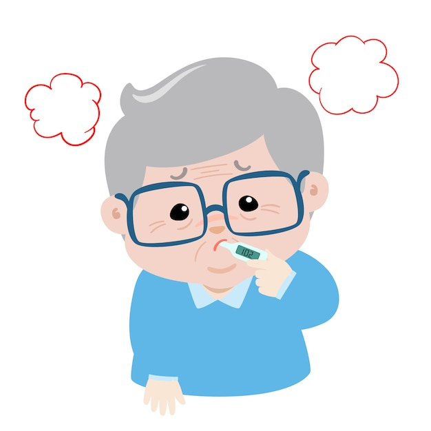 Il nonno ha la febbre alta causa di febbre Vettore Premium