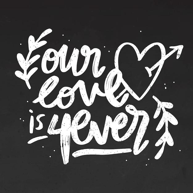 Il nostro amore è sempre scritto sulla lavagna Vettore gratuito