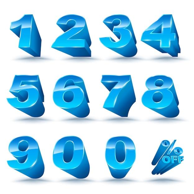 Il numero tridimensionale imposta 0-9 con percentuale di sconto Vettore Premium