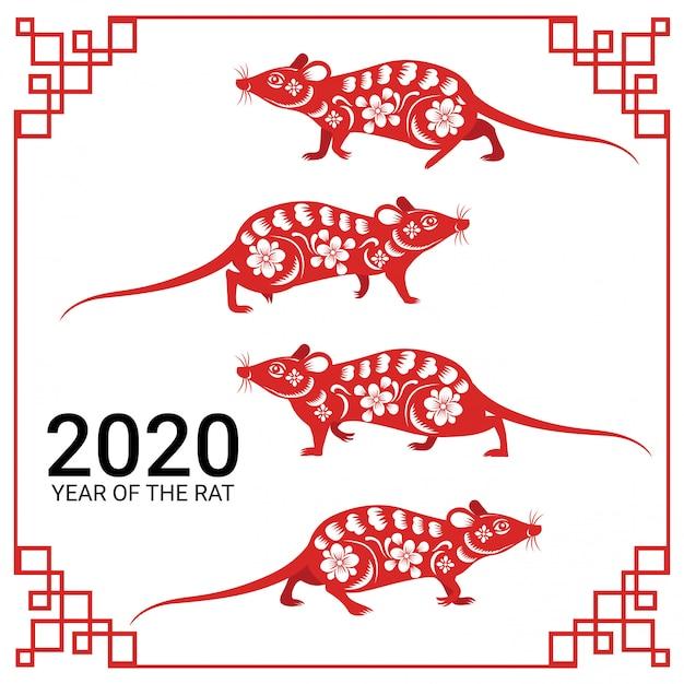 Il nuovo anno cinese felice 2020 anni della carta del segno dello zodiaco del ratto ha tagliato lo stile di arte e mestiere Vettore Premium