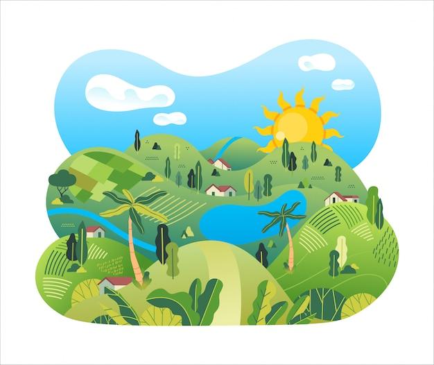 Il paesaggio della natura della campagna con il giacimento del riso, le case, il lago, gli alberi e il bello paesaggio vector l'illustrazione Vettore Premium