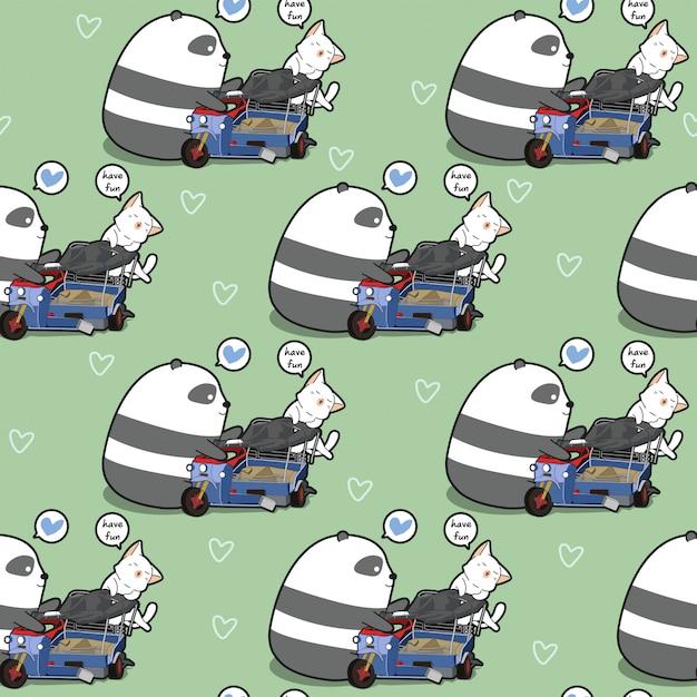 Il panda e il gatto kawaii senza cuciture sta giocando il modello del giocattolo Vettore Premium