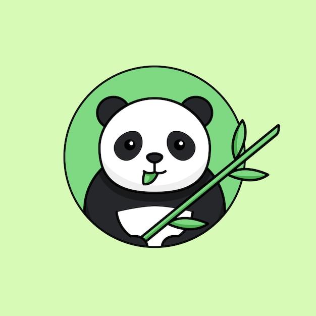 Il panda sveglio mangia la foglia e tenendo l'illustrazione semplice di vettore del profilo del gambo di bambù Vettore Premium