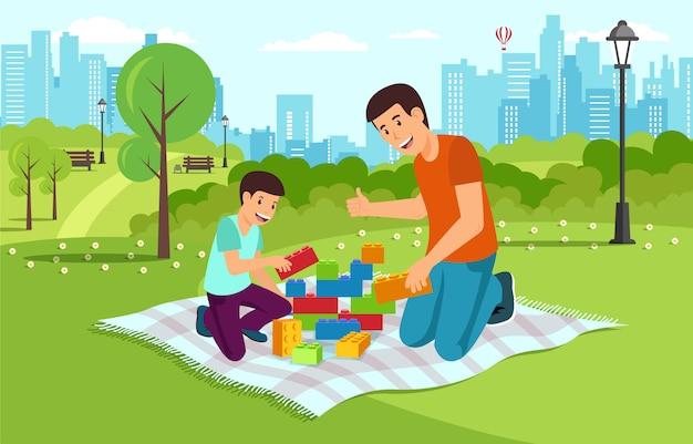 Il papà del fumetto con il figlio in parco raccoglie il costruttore. Vettore Premium