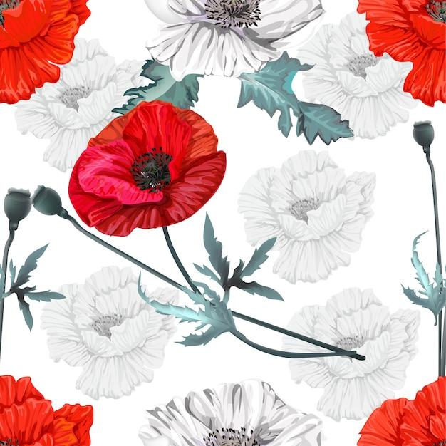 Il papavero fiorisce il modello senza cuciture Vettore Premium