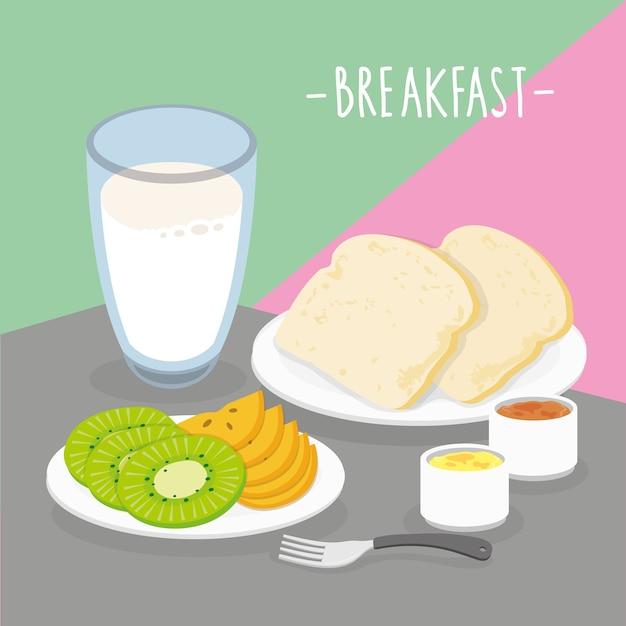Il pasto della prima colazione del pasto dell'alimento mangia il vettore del ristorante del menu della bevanda Vettore Premium