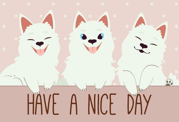 Il personaggio del simpatico cane samoiedo e degli amici. Vettore Premium