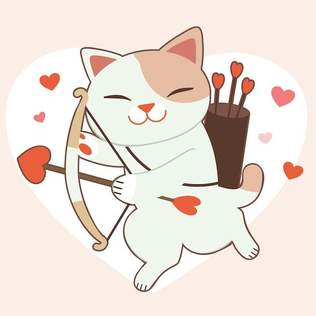 Il personaggio del simpatico gatto con la freccia del cuore sul cuore grande e rosa Vettore Premium