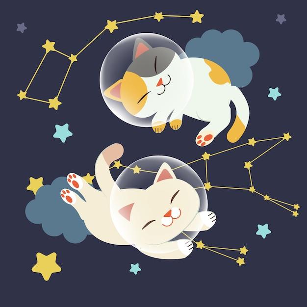 Il personaggio del simpatico gatto galleggia nello spazio. il gatto galleggia nello spazio con un gruppo di stelle Vettore Premium