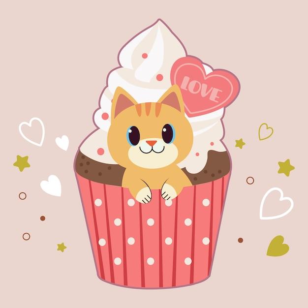 Il personaggio del simpatico gatto seduto nel cupcake Vettore Premium